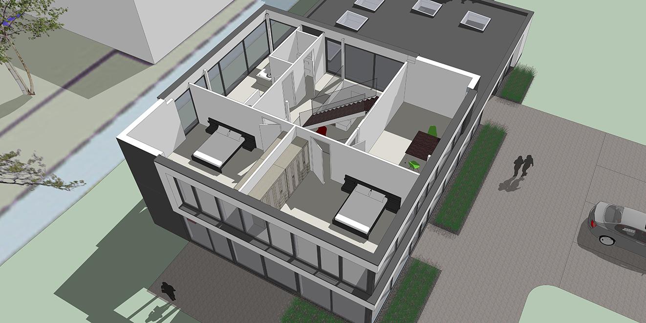 Overzicht eerste verdieping vide 2