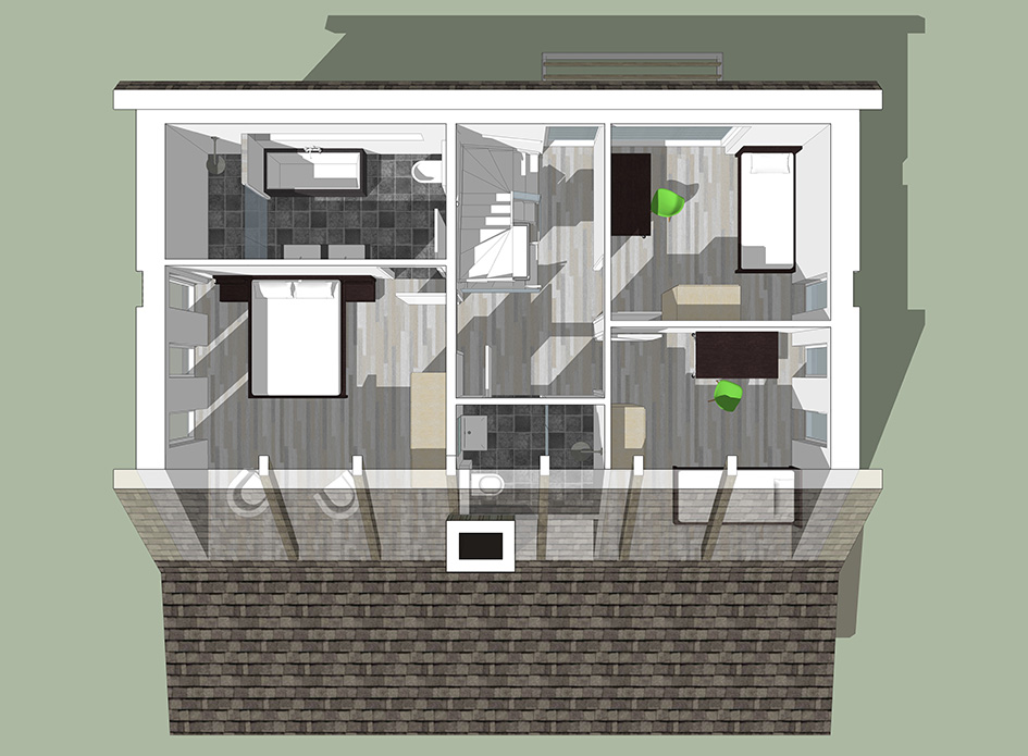 Interieur bovenaanzicht eerste verdieping