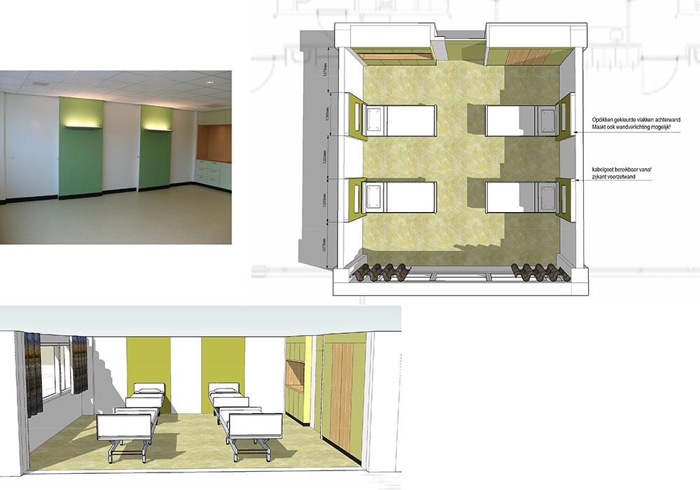 Interieur 3D-model beddenkamer