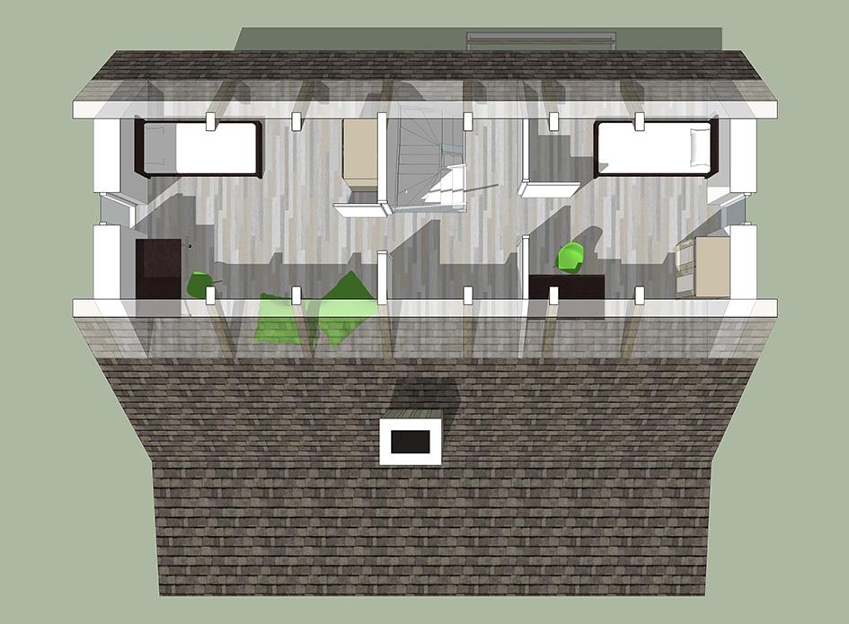 Interieur bovenaanzicht tweede verdieping