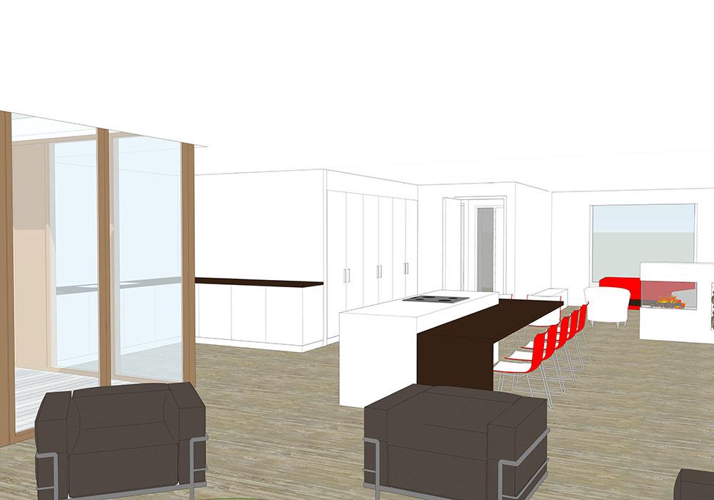 Interieur woonkamer keuken