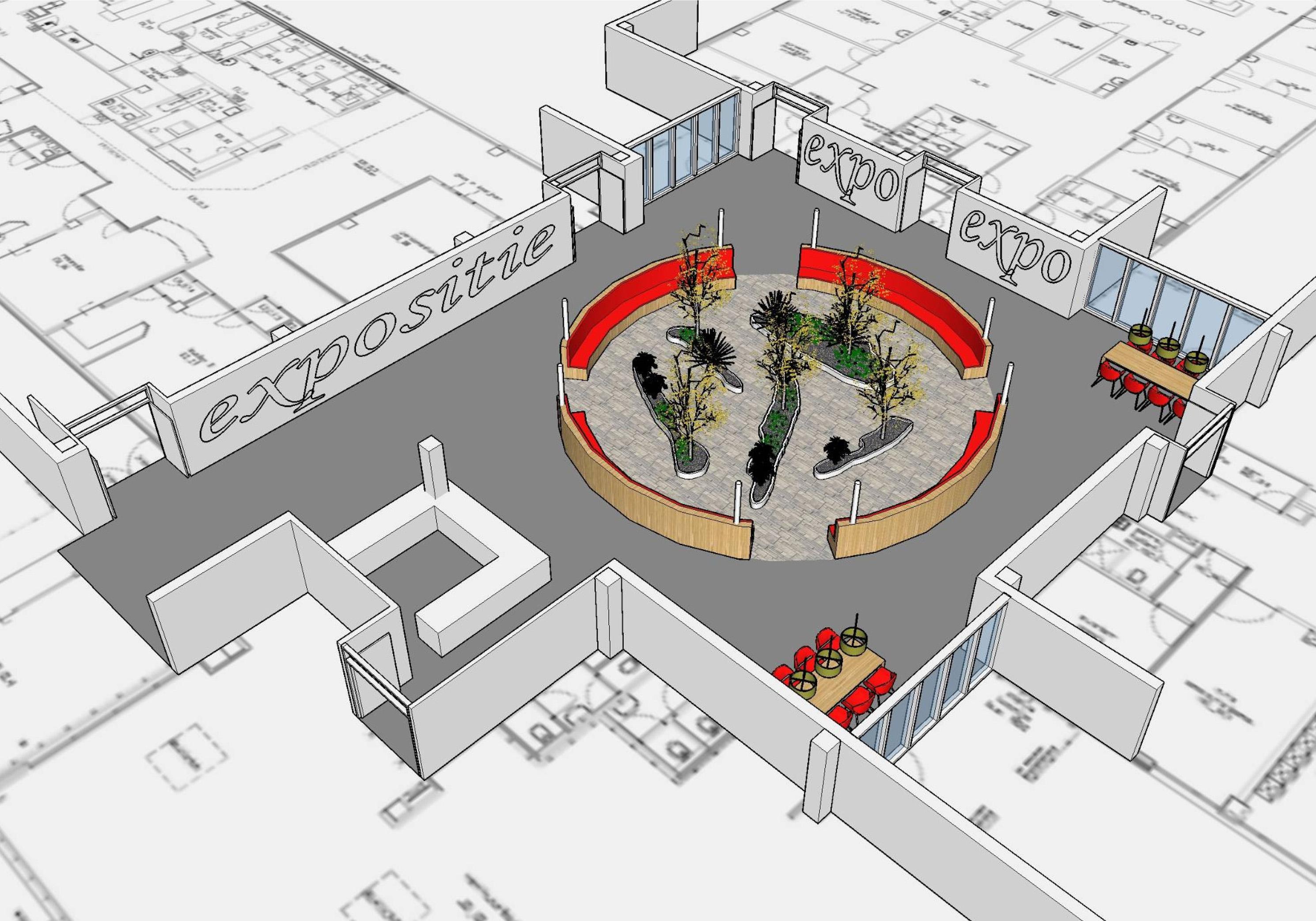 3D-model interieur overdekte patio