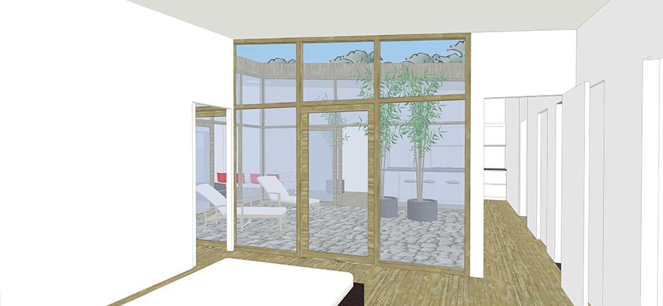 Patiowoning interieur slaapkamer