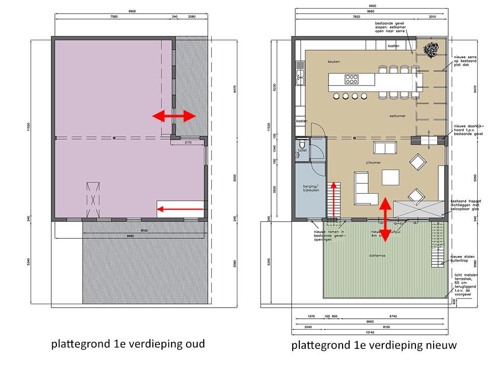 Plattegronden eerste verdieping