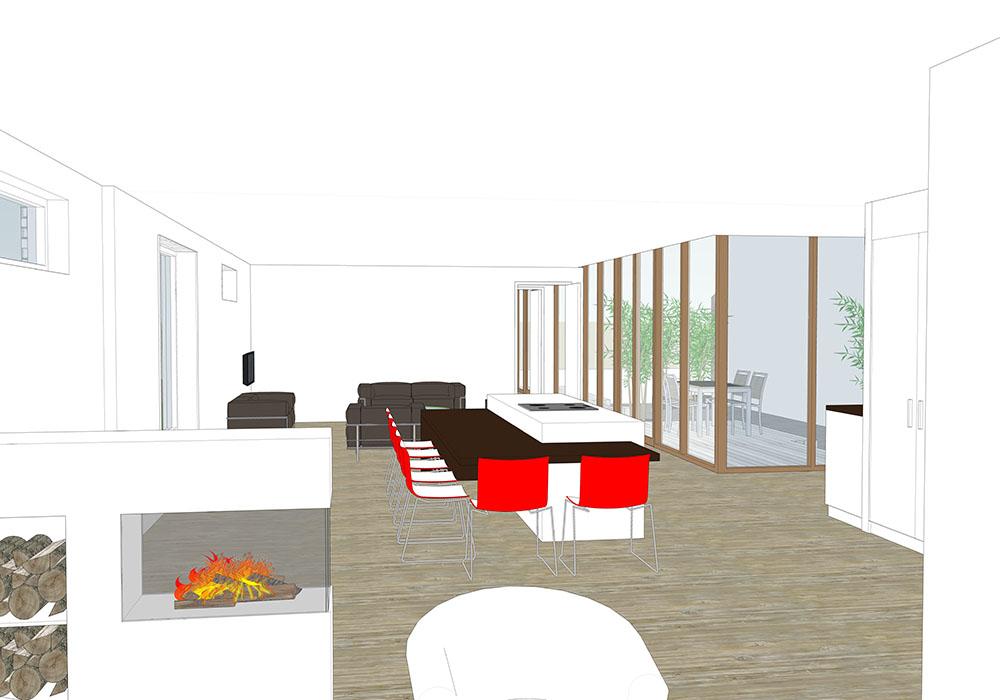 Interieur woonkamer zithoek