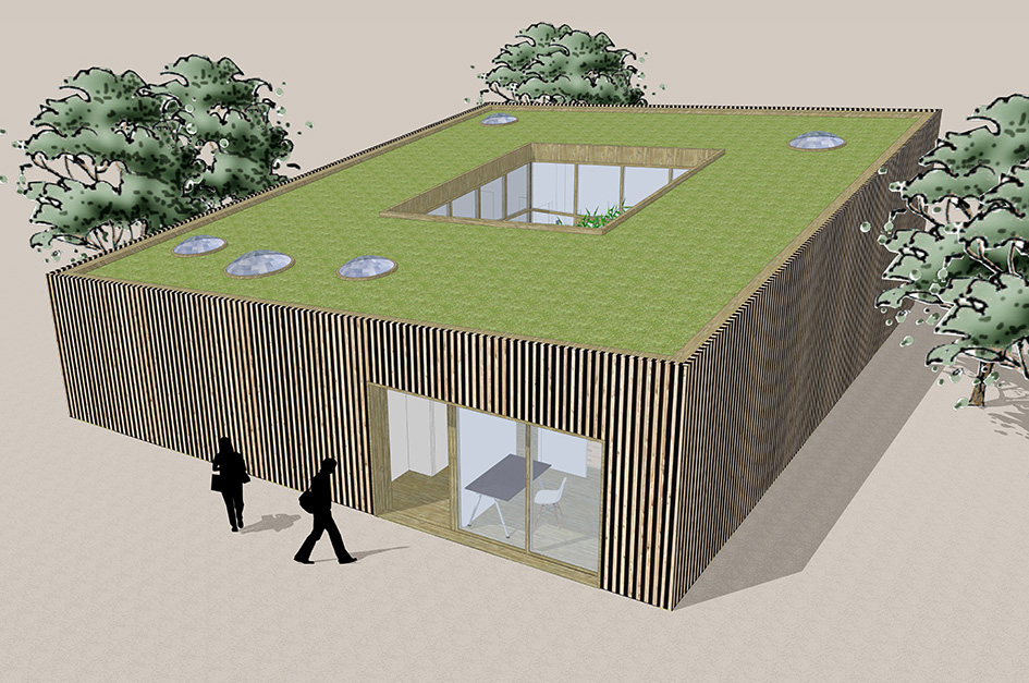 Patiowoning met houten gevels en groen dak