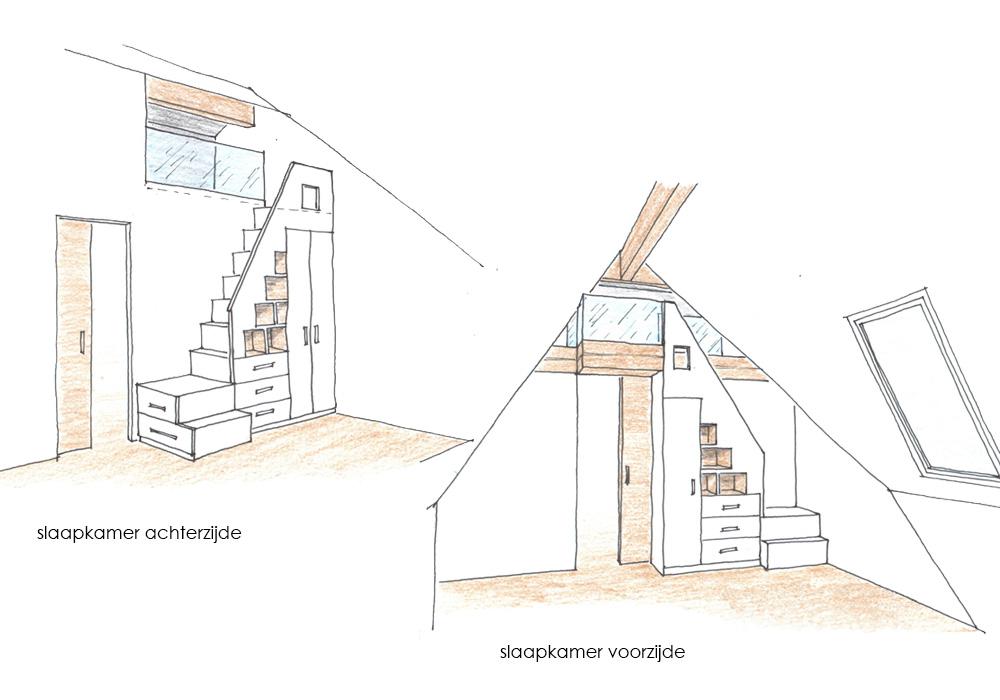 Zolder Moerkapelle interieur - verbouwing schetsen