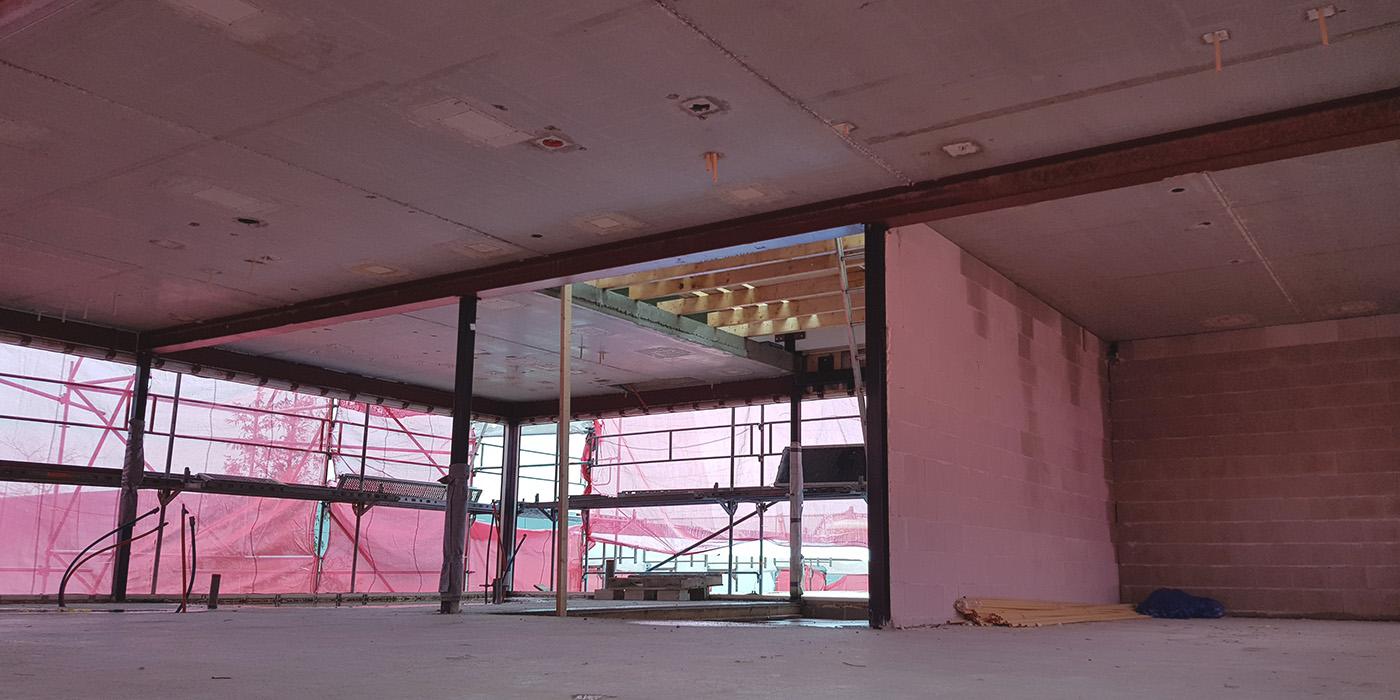 Vide 1e verdieping in aanbouw