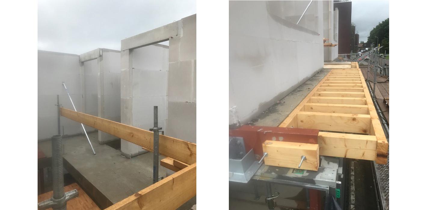 Foto's bouw - eerste verdieping wanden en luifel