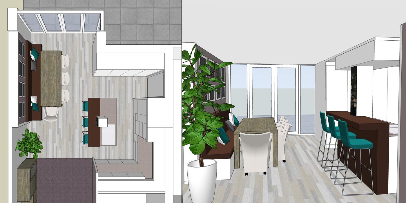 Interieur impressies keuken en eethoek